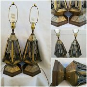 Pair Vintage Gothic Medevil Metal Caged Table Lamps W/ 3 Candle Light Sockets