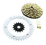 Cz Gold Mx Chain And Silver Sprocket 15/40 104l Fits 1989-1992 Yamaha 350 Warrior