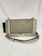 New Inc Ajae Woven Flap Turn-lock Crossbody Bag W/ Chain Strap Gray Nwt 69