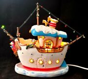 🎄 Disney Toontown And039doanld Duck Boatand039 Christmas Village Light Up Damaged
