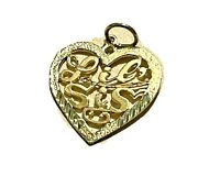 14k Yellow Gold Lil Sis In Heart Charm Pendant