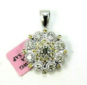 Natural Round Diamond And Sapphire Cluster Ladyand039s Pendant 14k White Gold 2.73ct