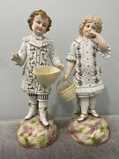 Antique German Bisque Porcelain Pair Of Large Figurines Boy And Girl W/ Baskets