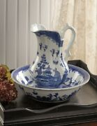 Victorian Trading Blue Willow Pitcher And Bowl Set