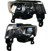 Pair Set Of 2 Headlights Lamps Left-and-right 68266646ad 68266647ad Lh And Rh