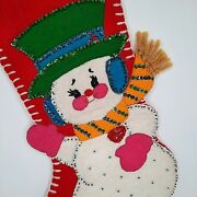 Vintage 50and039s 60and039s Handmade Red Felt Sequin Christmas Stockings Snowman Bell