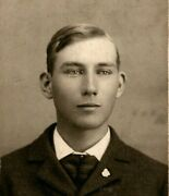 Vtg Cabinet Card Photo Handsome Young Man In Suit And Tie Named Earl Reed