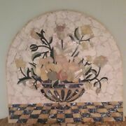 Arched Mosaic Perspective Flower Fruit Bouquet Vase Onyx Travertine Wall Art