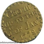 1772 George Iii Gold Guinea Brass Coin Weight With Ewer Countermark Rare Z416