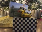 Htf Retired Mackenzie Childs Christmas Ornament Rubber Duck Mouth Blown Glass