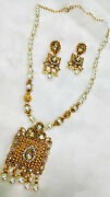 Traditional Necklace Set White Pearl Beads Kundan Gold Gift Clearance Sale -12