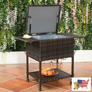 Ice Chests Coolers Outdoor Portable Rattan Cooler Cart Trolley Portable Cooler