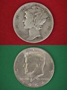 Make Offer 15.00 Face Value 1964 Kennedy Halves Mercury Dimes Silver Junk Coins