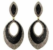 3.7ct Diamond Pave Dangle Earrings Black Spinal Sterling Silver 14k Gold Jewelry