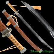 Chop Moon Knife Sword Pattern Steel Blade W Clay Tempered Full Tang Sharp 2999