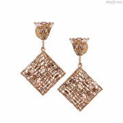 Solid 18k Rose Gold Dangle Earrings Pave 4.92ct Baguette Diamond Wedding Jewelry