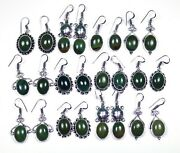 New Offer 200 Pairs Lot Natural Mix Gemstone Silver Plated Earrings Set