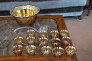 Indiana Glass Vintage Sawtooth Amber Grape Carnival Glass Punch Bowl And 12 Cups