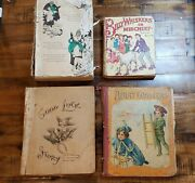 Lot Of 4 Antique Childrens Books. Merry Coasters, Good Luck Story. - Damaged