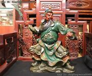 Chinese Copper Painted Dragon Guan Gong Guan Yu Hold Knife Warrior God Statue
