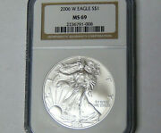 Ngc Ms69 2006-w American Silver Eagle Burnished Silver Dollar Satin Finish