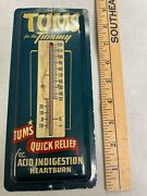 Vintage Advertising Tums Medicine Small Tin Thermometer 1946 Usa 9x4 Inches