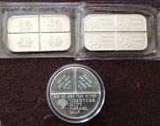 Crabtree,stagecoach Silver Divisible.999 Fine 1 Oz Silver Ingot Art Bar Lot Of 3