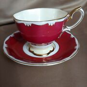 Footed Demitasse Cup And Saucer Set 1969 Red Gold White By Royal Albert