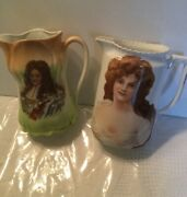 Porcelain/ceramic Water Pitchers Hand Painted King Louis Xiv And Meditation Woman