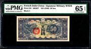 French Indo-china 1940 Japan Military Wwii 50 Senろ3 M1 Pmg 65 Epq Gem Unc