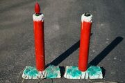 Mid-century 1950and039s Christmas Yard Candle Cement Hand Painted 24 Inch Decorations