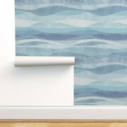 Removable Water-activated Wallpaper Modern Farmhouse Blue Wave Minimal Sea