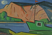 Signed Fr P Dated 49 - Landscape In Norway Fjord Fishing Trawler