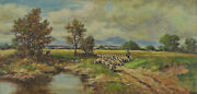 Signed Faust - Landscape With Shepherd And Sheep In Foothills