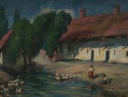 French Signed Barbour - Farmhouse With Ducks In The Water