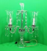 Antique Crystal Candelabra Lamp With Prisms And Feather Finial