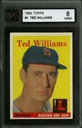1958 Topps 1 Ted Williams Ksa 8 Perfectly Centered Lr Pack Fresh Card Sharp Hq