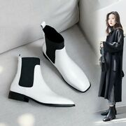 Womens Fashion Leather Square Toe Elastic Top Chelsea Ankle Boots Shoes Imcs