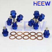 M22 X 1.5 Oil Pan Drain Plug Bolt Engine Magnetic Kit With Crush Washer 10p Blue