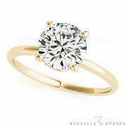 0.77 Ct H/si2 Natural Diamond Solitaire Engagement Ring Round 14k Yellow Gold