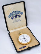 Vulcain Pocket Watch Chronograph Pulsations Scale Double Sign 18k Gold With Box.