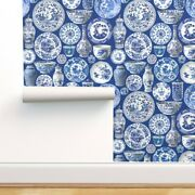 Wallpaper Roll Chinoiserie Vintage China Chinese China Plates Blue 24in X 27ft