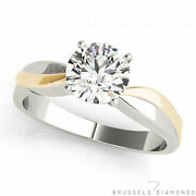 Gia 0.51 Ct Diamond Engagement Ring Round E/si2 Two Tone 14k Yellow White Gold
