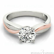 0.60 Ct Diamond Solitaire Engagement Ring Round G/si1 14k White Rose Gold
