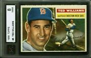 1956 Topps 5 Ted Williams Ksa 8 5050 Lr Perfect Color Gray Back Beautiful Card