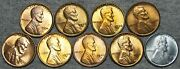1934 -1943 Lincoln Cent Wheat Penny Lot Of 9 -- Gem Bu++ Condition Lot -- L858
