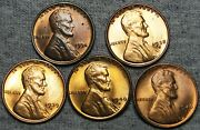 1934 -1946-s Lincoln Cent Wheat Penny Lot Of 5 - Gem Bu++ Condition Lot -- L865