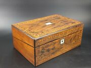 Antique Inlaid Rosewood Writing Slope Box With Inkwells