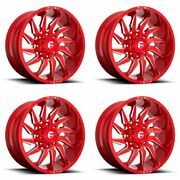 4x Fuel 20x10 D745 Saber Wheels Candy Red Milled 8x170 Pcd -18mm Offset 4.79bs