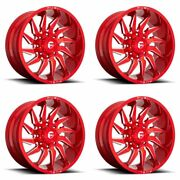 4x Fuel 20x10 D745 Saber Wheels Candy Red Milled 8x6.5 / 8x165.1 -18mm 4.79bs